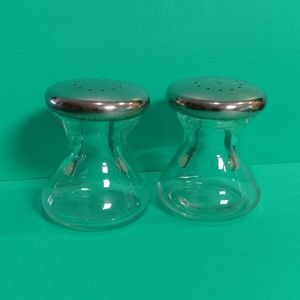 Mod minimalist glass & metal salt & pepper shaker